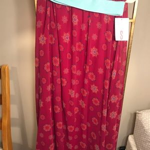 Small Magenta & Mint Lularoe Lucy Skirt NWT